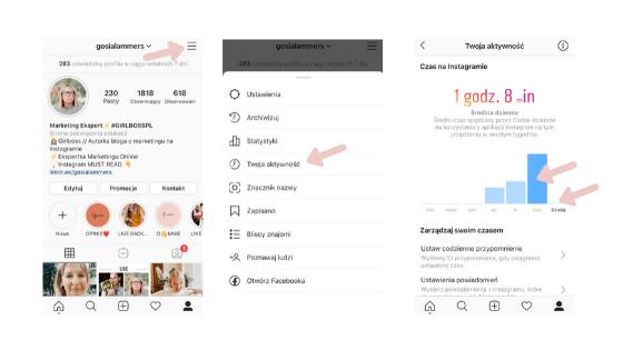 jak sprawdzić czas poświęcony na przeglądanie Instagramu?